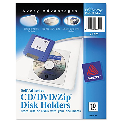 Self Adhesive Disk - Avery Self-Adhesive CD/DVD/Zip Pockets, Pack of 10 (73721)