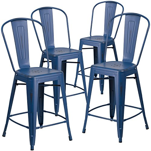Flash Furniture 4 Pk. 24'' High Distressed Antique Blue Metal Indoor-Outdoor Counter Height Stool with Back