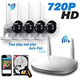 Ipccam 4PCs 720P Outdoor Bullet Camera with 4CH 1080P Output WiFi Wireless Security CCTV Surveillance System Network Video Recorder NVR Kit 25M Infrared Radiation IR Night Vision 1TB Hard Drive Black