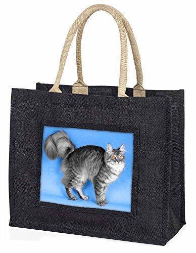 Advanta Silber Maine Coon cat Große Einkaufstasche/Weihnachtsgeschenk, Jute, schwarz, 42x 34,5x 2cm