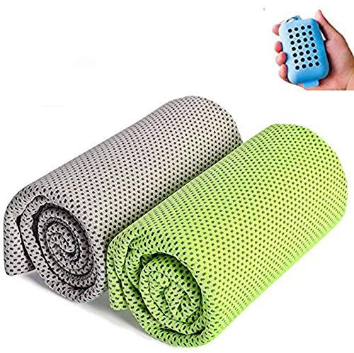 [해외]JIEMEIRUI 속 건 수건 냉각 수건 (2 개 세트 + 실리콘 파우치) 경량 슈퍼 흡수 스포츠 타 올 운동 타 올 냉 타월 비치 타 올 취 촉감 좋은 장마철 대책 운동수영요가등산여행 / Jiemeirui Towel Cooling towel (2-piece set + silicon storage case)...