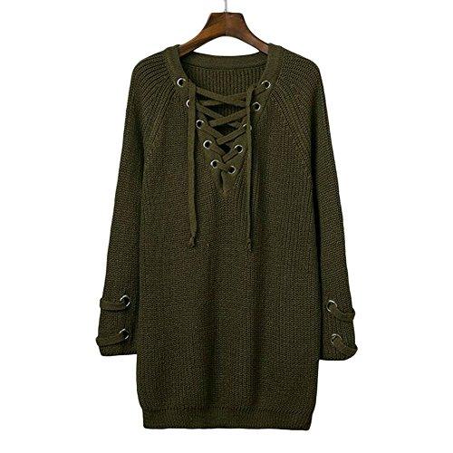 GERGER BO Mother's Day Crisscross Knitted Long Sweater(Green,XL) (Bo Peep Wig)