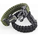 Duro Gear Survival Paracord Bracelet with Fire Starter, Magnesium Rod, Scraper and Whistle - Tactical Black and Army Olive Drab Green - 2 Pack