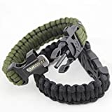 Duro Gear Survival Paracord Bracelet Fire Starter Flint Magnesium Rod, Scraper, Super Loud Emergency Signal Whistle, 2 Pack, Colors: Tactical Black & Army Olive Drab Green