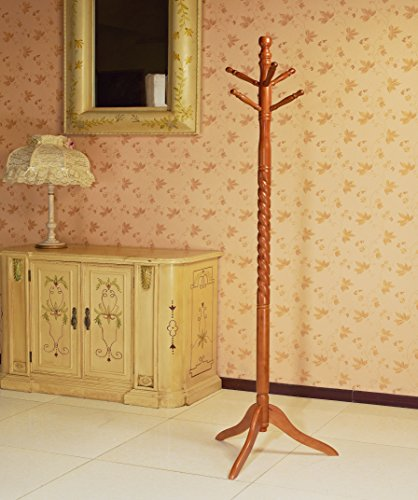 Frenchi Home Furnishing Swivel wooden Coat Rack Stand, Oak