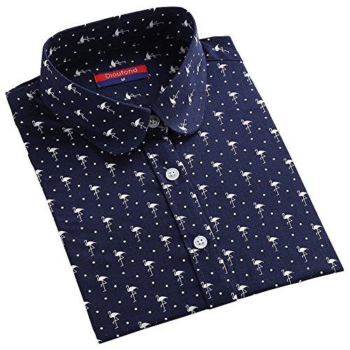北方興奮する役立つDioufond フラミンゴ柄 圓衿 長袖 カジュアル レディースシャツ