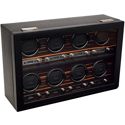 WOLF 459356 Roadster 8 Piece Watch Winder with Cover, Black by WOLF