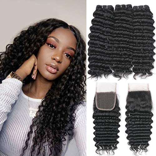 Beauhair Brazilian Hair Deep Wave 3 bundles With Lace Closure Free Part Virgin Hair Unprocessed Natural Color Can Be Dyed and Bleached (16 18 20+14, Natural Color)