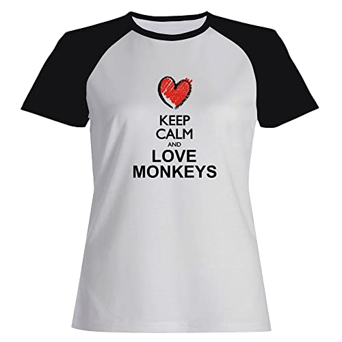Idakoos Keep calm and love Monkeys Maglietta Raglan Donna