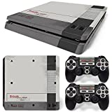 Ps4 Slim Playstation 4 Console Skin Decal Sticker Old NES Retro + 2 Controller Skins Set (Slim Only)