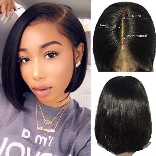 1B Black Bob Wigs Lace Front 13x6 Real Human Hair Silky Straight Bleached Knots 10 inch Pre Plucked with Baby Hair for Black Women Thick and Full 150% Density (Best Hairstyles For Black Women Over 50)