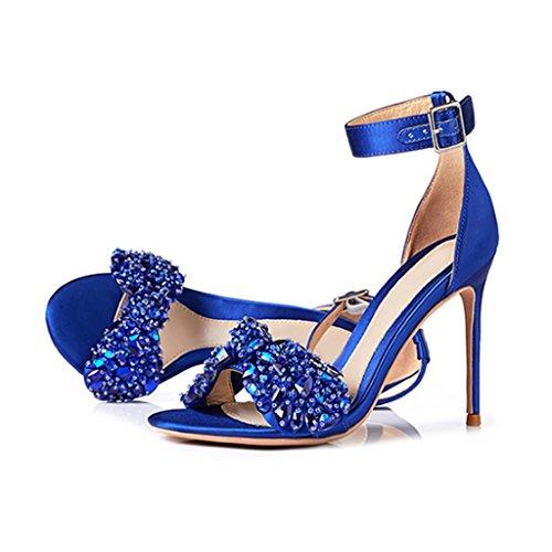 Imitación Sandalias Azul Femeninas 8cm Hebilla Zapatos Con Diamantes Alto Tacón De rr8AUCwqx