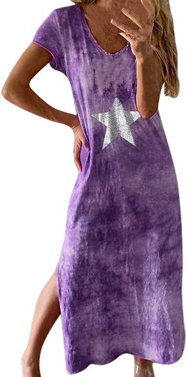AIni Vestido Ropa Mujer Vestidos Verano con Estampado Camisa Suelto De Manga Corta Vestido Estampado TeñIdo Anudado Vestido De Playa Vestido De Cuello Redondo Vestido Casual De Moda De Fiesta: Amazon.es: Ropa