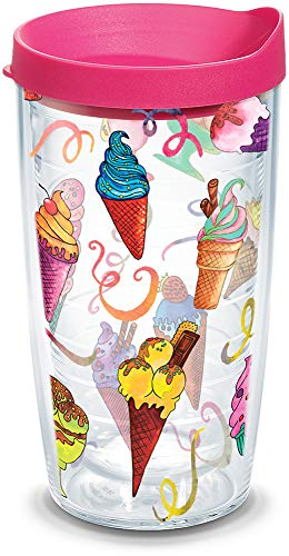 Tervis 1287598 Ice Cream Cones Insulated Tumbler with Wrap and Fuschia Lid, 16oz, Clear
