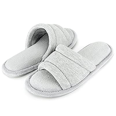 Wishcotton Memory Foam Open Toe Slippers, Cozy Summer House Shoes