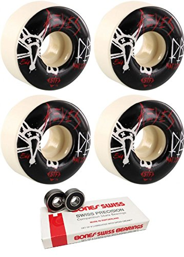 アニメーショングループ禁じる54 mm Bones Wheels STF Dry BonesスケートボードWheels with Bones Bearings – 8 mm Bones Swiss Skateboard Bearings – 2アイテムのバンドル