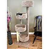 1 Piece Light Brown 65 Inches High Comfort Scratcher Cat Condo, Brown Color Pet Stairway Tower Tree Round Perch Bed Kitty House, Unique Cozy Relax 4 Spacious Perches Carpet, Sisal Rope Wood
