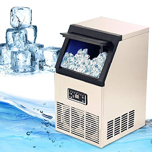 BSTOOL Commercial Ice Maker Machine Auto Clear Cube Ice Making Machine for Restaurant Bubble Bar, 25 LB Storage Bin, 110 LB Daily Ice Making Capacity, 1 Year Warranty