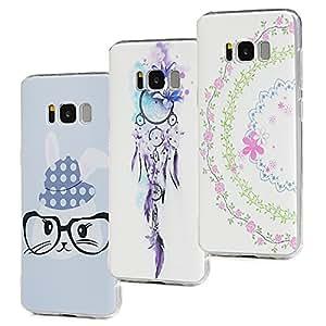 3Pack Galaxy S8Plus caso, stxmall transparente protectora casos de TPU suave gel de silicona a prueba de golpes de goma anti-arañazos ligero teléfono móvil con patrón para Samsung Galaxy S8Plus 2017modelo, Rabbit + Wind Chime + Flower Vine