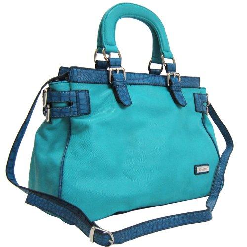 Belted Shopper Handbag (Dasein Dasein Croco Trim Tote Bag w/ Side Belted Accents -Blue)
