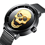 Men's Big Dial Stainless Steel Mesh Watch Punk Stylish 3D Skull Quartz Analog Fashion Luminous Watch