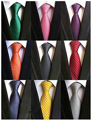 (Adulove Men's Necktie Classic Silk Tie Woven Jacquard Neck Ties 6/9 PCS )