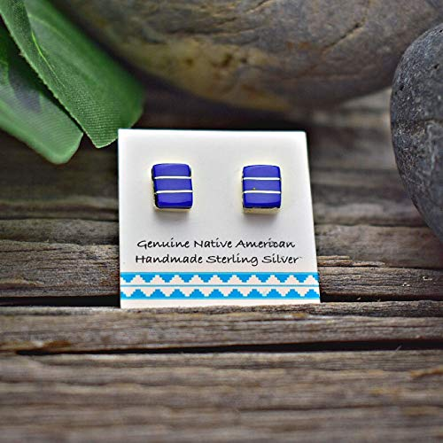 (6mm Genuine Lapis Lazuli Stud Earrings in 925 Sterling Silver, Square Inlay Style, Authentic Navajo Native American, Handmade in the USA, Nickle Free, Navy Blue )