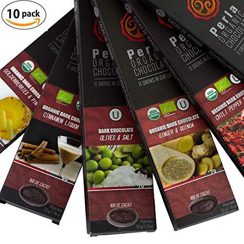 Perla Dark Chocolate Bars - Fine Organic Cocoa Premium Vegan Chocolates - Natural Clean Non-GMO USDA, KOSHER Certified - Gourmet Variety Box - 10 Pack
