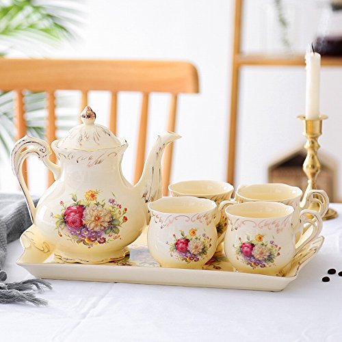 DHG English Afternoon Tea Set Tea Cup Ceramic Cup Household Coffee Cup Set Continental Cup Set,A by DHG (Image #1)