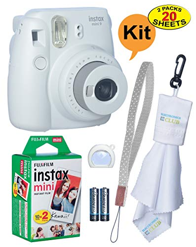 Fujifilm Instax Mini 9 Instant Film Camera + 20 Sheets of Instant Film + Lens Cleaning Cloth + Close-Up Selfie Lens + Wrist Strap | Batteries Included – Smokey-White