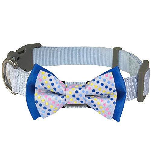 Blueberry Pet 4 Patterns Polka Dots Handmade Detachable Bow Tie Dog Collar in Neat Pastel Blue, Medium, Neck 14.5