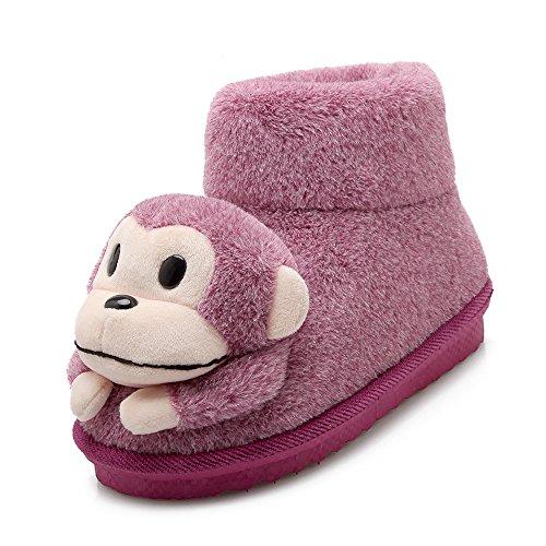 Y-Hui zapatillas de algodón mopa de algodón de invierno Home zapatos de suela gruesa zapatillas con paquete de alta,260 (de 38 y 39 yardas),rojo purpúreo