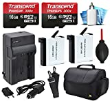 16GB MicroSD Memory Card (2 Pack) + Travel Case + AHDBT-401 Replacement Battery (2 Pack) + Car & Travel Charger + Dust Removal and Cleaning Kit for GoPro HERO4 Hero 4 Black Silver Camera Camcorder