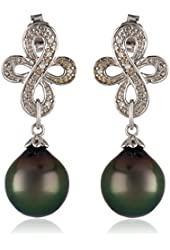 Sterling Silver 9-9.5 MM Tahitian Cultured and Diamond Earrings (0.1 Cttw, G-H Color, I2-I3 Clarity)