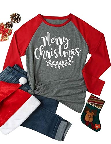 Nlife Women Merry Christmas Blouse Letter Print Round Neck Long Sleeves Color Block Tops Shirt
