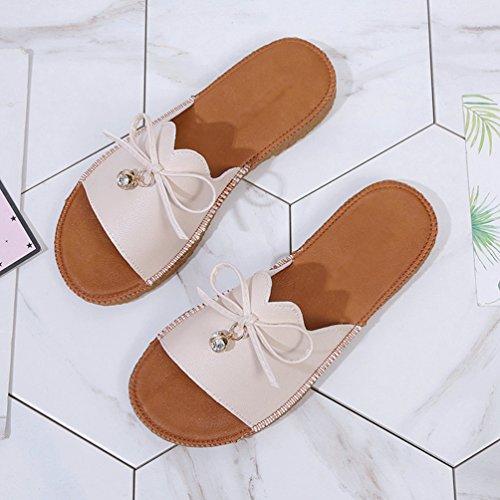 Chaussures Cuir 35 de Antidérapantes Chaussons à Faux Femme 40 Beige Kairuun Chaussures Pantoufles Taille Plates Été qEnpxAtgW