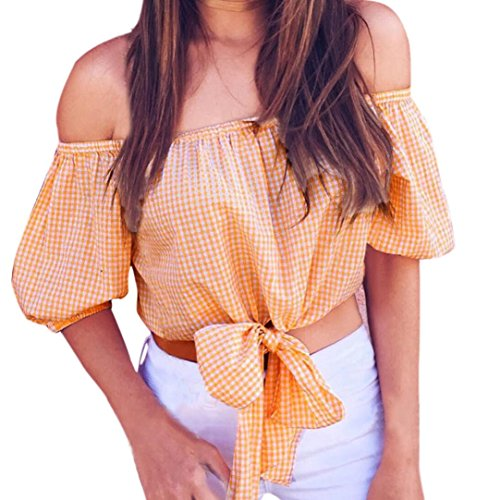 Cashmere Puff Sleeve Top (Bravetoshop Women Casual Off Shoulder Lace Up Front Short Sleeve Sexy Plaid Tops Puff Sleeve Blouse T-Shirt (Orange, S))