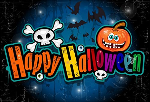 AOFOTO 8x6ft Happy Halloween Eve Night Backdrop Scary Bats Cartoon Grimace Pumpkin Eyeball Skull Photography Background All Saints' Day Festive Party Decor Holiday Trick Or Treat Photo Studio Props -