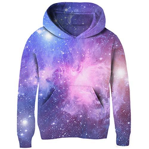 Uideazone Big Boys Girls Galaxy Fleece Pockets Sweatshirts Jacket Pullover Hoodies