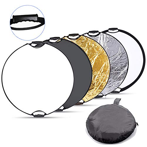 Panel Reflective (Fairview 5-in-1 Collapsible Photography Lighting Reflector 32 Inch 80cm Round Handle Disc Panel Kit with Portable Carrying Bag for Camera Photo Studio &Outdoor Gold White Silver)