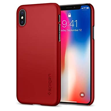 new arrival 9ad89 24a7f Spigen [Thin Fit] iPhone Xs Case, iPhone X Case Cover Designed for iPhone  Xs (2018) iPhone X (2017) - Metallic Red