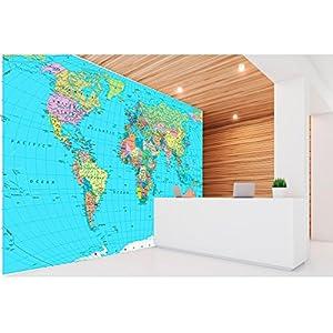 Fotomural Vinilo Pared Mapamundi Político Fondo Azul | Fotomural para paredes | Mural | Vinilo Decorativo | Varias Medidas 150 x 100 cm | Decoración comedores, salones, habitaciones…