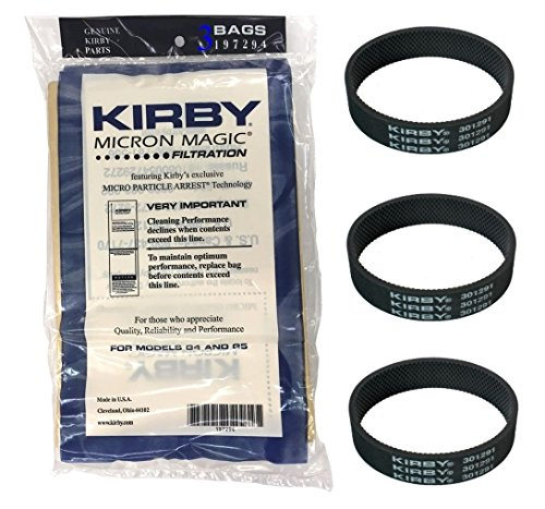 (3) Kirby Belts & Sweeper Bags for Sentria Vacuum G3 G4 - NEW, (Kirby Grips)