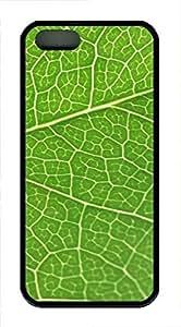 iPhone 5 5S Case Green Leaf Texture TPU Custom iPhone 5 5S Case Cover Black