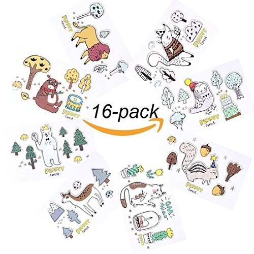 (Micirc 16 Pack Animal Greeting Pop Up Card Kids Cards - 8 Assorted Woodland Animal Designs for Holiday Greetings - 2 of each design - Envelopes Included)
