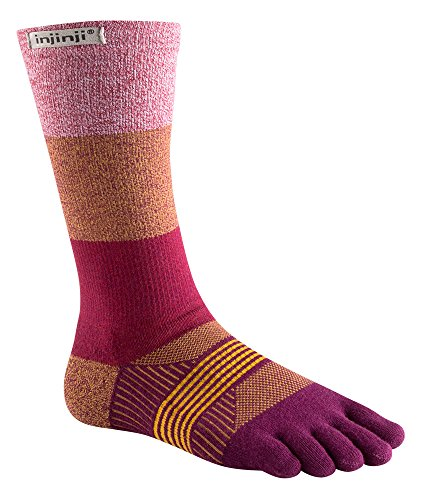 Injinji Women's Trail Midweight Crew Socks (X-Small/Small, Pomegranate) ()