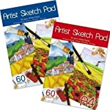 A4 Artists Sketch Cartridge Paper Pad 80gsm 60 Sheets Ideal Chalks,Pencil Pastel