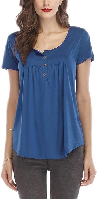 قميص تونك نسائي قصير الأكمام ورقبة مستديرة مع طيات بأزرار وأكمام قصيرة (/ L)
