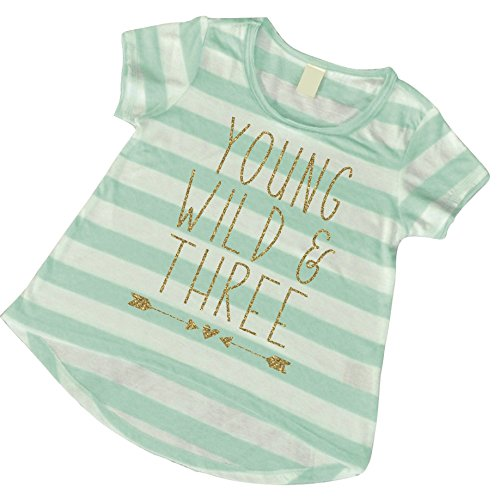 Girl 3rd Birthday Shirt, Young Wild and Three (3T)