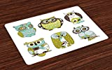 Lunarable Birds Place Mats Set of 4, Owls with Different Designs Childrens Cartoon Style Avian Animal Drawing, Washable Fabric Placemats for Dining Room Kitchen Table Decor, Pale Green Brown Teal